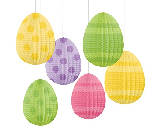 (Amscam Mini Eggs-Shaped Hanging Decorations, Pleated Paper (6 Per Pack), 5
