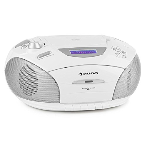 auna RCD220 Boombox mit CD-Player USB-MP3-Player Kasettendeck UKW-Radio mobile Stereoanlage (2x2W RMS Leistung, LCD-Display, AUX-Eingang, Kopfhöreranschluss, Tragegriff, Netz- & Akku-Betrieb) weiß