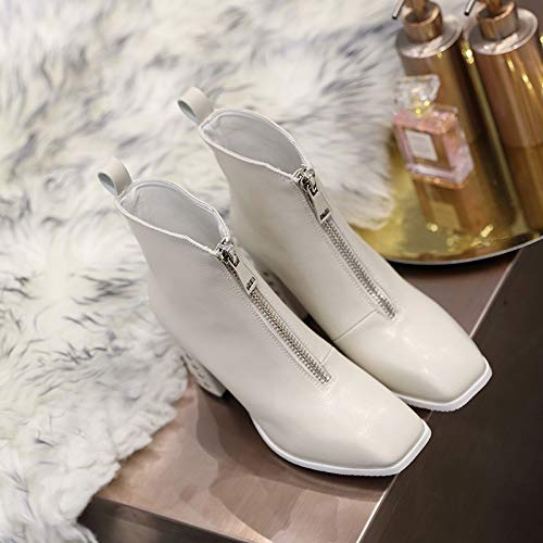 Shukun Stiefeletten Stiefel Kinder weiße Kurze Stiefel weiblichen Frühling und Herbst vorne Reißverschluss Martin Stiefel High Heels Frauen Winter dick mit