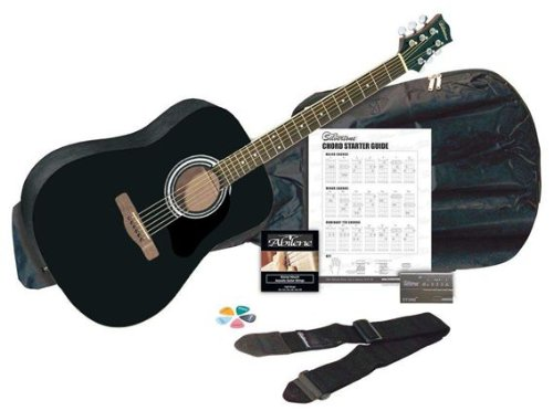 Silvertone SD3000 Acoustic Guitar Pack, Black
