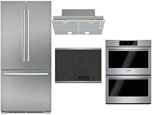 "Bosch 4-Piece Stainless Steel Kitchen Package with B21CT80SNS 36"" French Door Refrigerator, NET8068SUC 30"" Electric Cooktop, HBL8651UC 30"" Double Wall Oven, and DHL755BUC 30"" Custom Hood Insert"