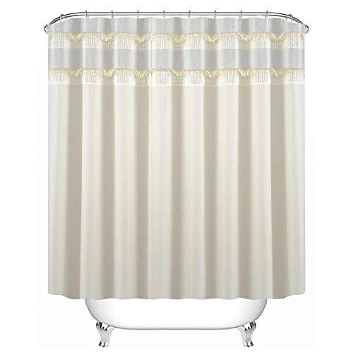 Fabric Tassel Set (Uphome Bathroom Shower Curtain, Heavy Duty Luxury Beige Tassel Pachwork Ruffle Fabric Bath Stall Curtain Set, Hotel Quality Waterproof and Mildew Resistant, 72''W x 72''L)