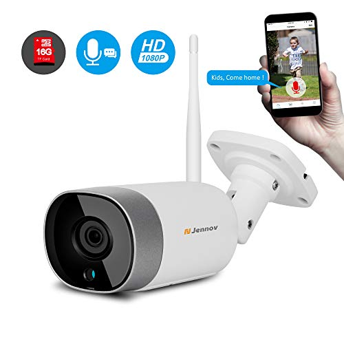 [2019 Newest Two Way Audio] Jennov Wireless WiFi Security IP Camera Outdoor Bullet Home HD 1080P Surveillance IR Night Vision Two Way Audio, Onvif Motion Detection and Pre-Installed 16G Micro SD Card (Best Wireless Outdoor Ip Camera 2019)