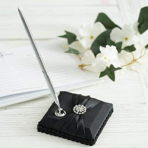 Criss Cross Ribbon - BalsaCircle Silver Pen and Black Holder Set with Criss Cross Ribbon and Rhinestones - Wedding Accessories Decorations Supplies