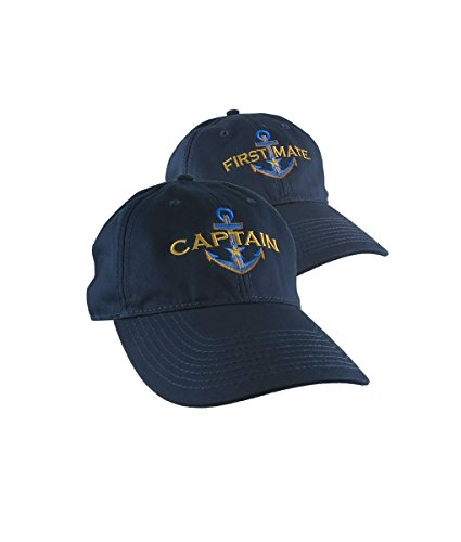 5f9a0ad37a6 Nautical Gold Star Anchor Captain and First Mate Embroidery on 2 Adjustable  Navy Blue Unstructured Baseball Caps Options Personalize Both Hats   Amazon.ca  ...