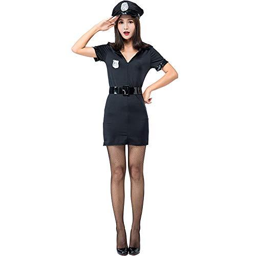 Honfill Women Cop Officer Costume Police Uniform Badge Belt with Handcuff ()