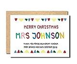 Christmas card teacher personalised handmade nursery teaching assistant playgroup school nursery