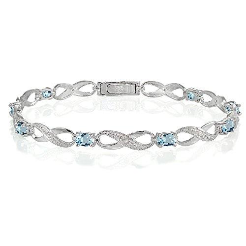 Ice Gems Sterling Silver Blue Topaz Infinity Link Bracelet