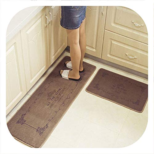 Chery-Story Kitchen Long Mats Area Rugs Non-Slip Absorbent Bathroom Floor Mat Entrance Doormat Bedroom Soft Office Table Footcloth,Brown Flower,40x60cm ()