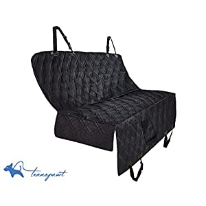 """Transpawt Luxury Dog Car Seat Covers - Hammock Waterproof Pet Back Seat Cover for Cars, Trucks and SUVs - Black, 57""""L x 55""""W with additional 8"""" Side Seat Protectors. Includes Bonus x2 Dog Seat Belts."""