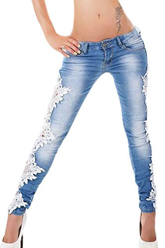 Mosaico Bianco Stretti Si Svuotare Zojuyozio Lace Jeans Donne Pantaloni 8AOBqIHWTn