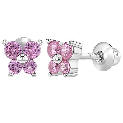 925 Sterling Silver CZ Pink Butterfly Earrings Toddlers Baby Kids Screw Back ()
