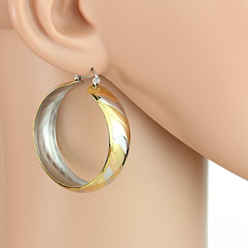 Diagonal Hoop (United Elegance - Contemporary Polished Tri-Color Silver, Gold & Rose Tone Hoop Earrings with Diagonal Striped Design (Bold Spiral))