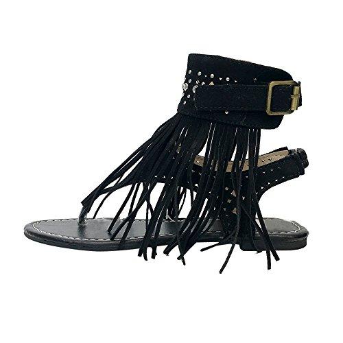 Femmes D'éTé Angelof BohèMe Femmes Sandales Noir Mode Plates Sandales Glands Sandales Noir Sandales Gris Marron qEg14gw