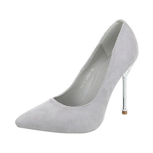 Ital-Design High Heel Pumps Damenschuhe Pfennig-/Stilettoabsatz Heels Grau NE03