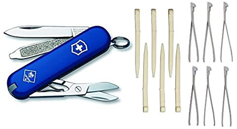Bundle - 3 Items: Victorinox Swiss Army Classic SD Pocket Knife and (1) 6-Pack Replacement Toothpicks and (1) 6-Pack Replacement Tweezers (Blue Cub - Victorinox Replacement Toothpick
