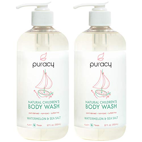 Puracy Natural Children's Body Wash, Watermelon & Sea Salt, Hypoallergenic Kid's Shower Gel, 12-Ounce (2-Pack)