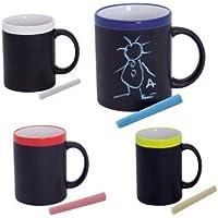 DISOK Lote de 20 Tazas Pizarra de Cerámica Ideales para Desayuno, en Caja de Regalo. Tazas Infantiles para Colorear con tizas, Pinturas. Regalos para Niños y niñas Cumpleaños y Detalles de Comuniones