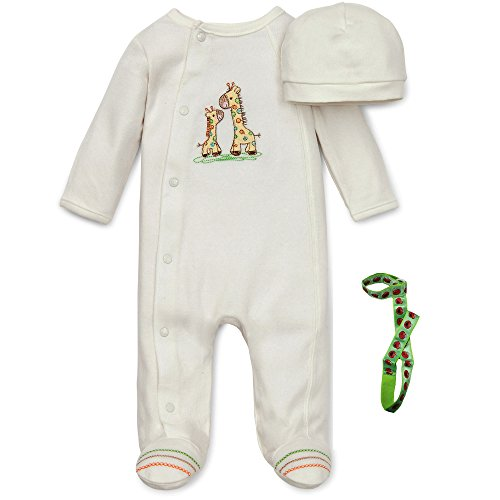 little-me-off-white-yellow-green-giraffe-footed-sleeper-hat-and-tether-newborn