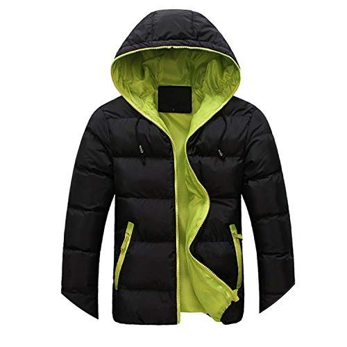Lovely-Shop Down Coats Men's Winter Warm Hooded Outwear Slim Casual Coat Jacket Parka Overcoat Thick Coat,Black Green,L