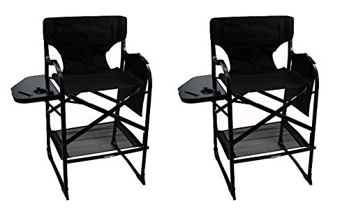 World Outdoor Products Professional Edition 2 Pack Tall Directors Chairs with Side Table,Built-in Cup and New Cellphone Holder,New Removable Front and Backside Patches. (Chairs Built Table With In)