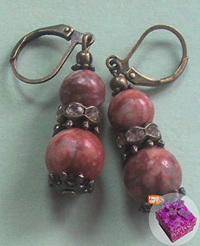 Picasso Jasper Faceted Crystal Earring Bronze Leverback Hook Artisan Earrings For Women Set + Gift Box For Free (Bronze Leverback Earring Hooks)