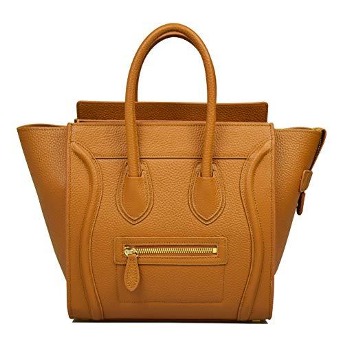(Esyuel Women's Genuine Leather Smile Top Handle Handbag Purse (Medium, Yellowish Brown))