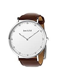 June & Ed Quartz Stainless Steel Men's Watch with Sapphire Crystal Dial Window W-0040