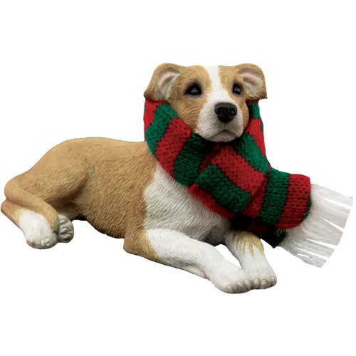 (Sandicast Fawn Pit Bull Terrier with Red and Green Scarf Christmas Ornament)
