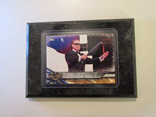Fame Induction Card - Sting Hall of Fame Topps WWE 2017 announces his retirement at his WWE Hall of Fame induction card mounted on a 4