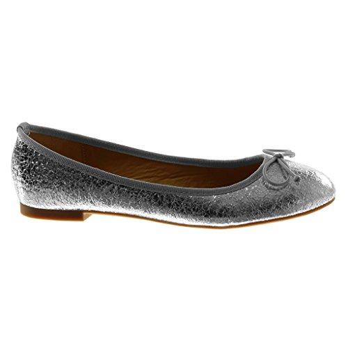 Angkorly Damen Schuhe Ballerina - Slip-On - Knoten - Schlangenhaut - Glänzende Flache Ferse 1 cm Silber