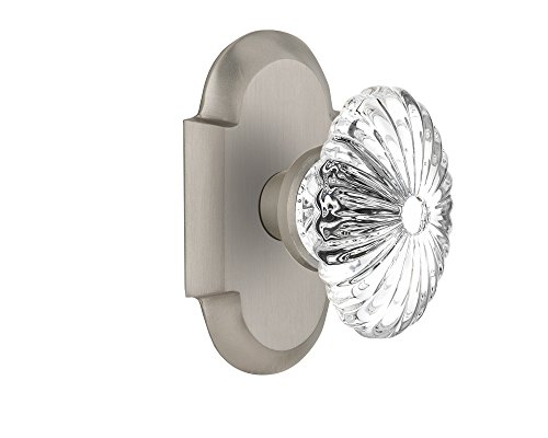 (Nostalgic Warehouse Cottage Plate with Oval Fluted Crystal Glass Door Knob, Privacy - 2.375