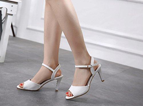 Mode Élégant pour à Talons Hauts Bout à Sandales Style Sweet JAZS® New Confortables Femmes la Blanc à Ouvert Sandales Fashion Fashion Sexy Sandales Sandales RqxwHqEB