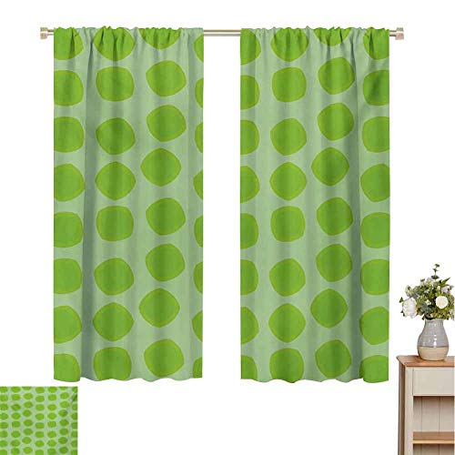 Mozenou Lime Green, Decorative Curtains for Living Room, Simplistic Formless Geometric Shapes in Different Shades Kids Nursery Theme, Waterproof Window Curtain Almond Green