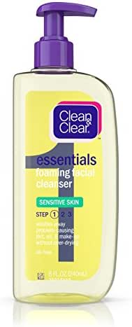 Clean & Clear Essentials Foaming Facial Cleanser for Sensitive Skin, Oil-Free Daily Face Wash to Remove Dirt, Oil & Makeup, 8 fl. oz