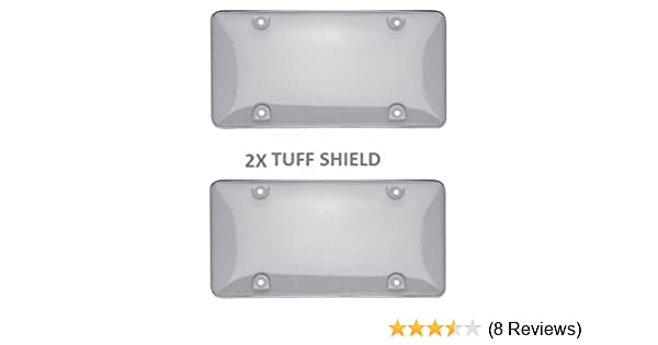 2 Clear License Plate Tag Frame Covers Bubble Shields Protector for Car-Truck