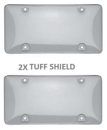 Set of 2 Clear Bubble License Plate Shield Car Truck License Plate Frame 2x