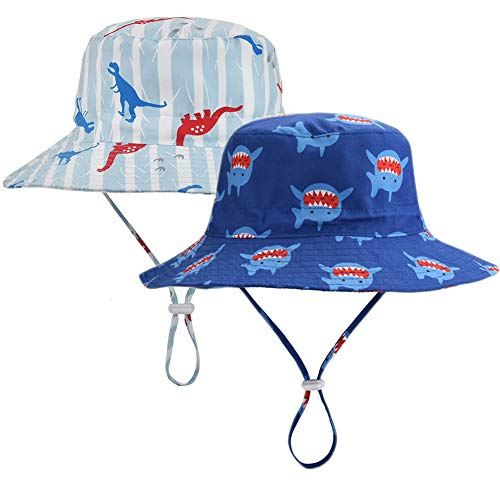 Baby Sun Hat upf50+ 2-Pack Toddler Breathable Safari Bucket Hat Boys Summer Play Swim Hat (Dinosaur & Shark, 50cm) -