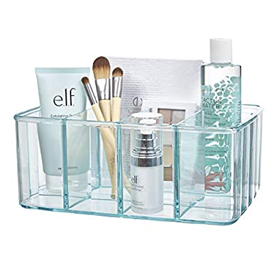 STORi Plastic Organizer | 5-Compartments | Ocean Mist - SPACIOUS 5-compartment vanity organizer is proudly made in USA Large compartments are VERSATILE for beauty products of any size 10-inch by 7-inch size is JUST RIGHT for eye, face, lip, and nail products - organizers, bathroom-accessories, bathroom - 41BNrH7q5rL. SS400  -