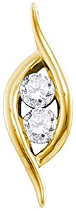 Diamond Pendant 14kt Yellow Gold 2-stone Hearts Together 1/4 Cttw(I2/i3, i/j)