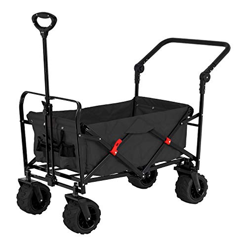 - Black Wide Wheel Wagon All Terrain Folding Collapsible Utility Wagon with Push Bar - Portable Rolling Heavy Duty 265 Lb Capacity Canvas Fabric Cart Buggy - Beach, Garden, Sporting Events, Park, Picnic