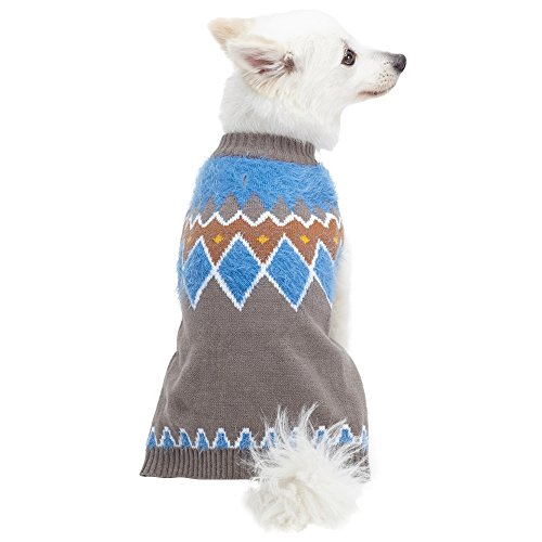 Picture of Blueberry Pet 3 Patterns Icelandic Lopi Feather Yarn Pullover Dog Sweater in Smart Grey, Back Length 20
