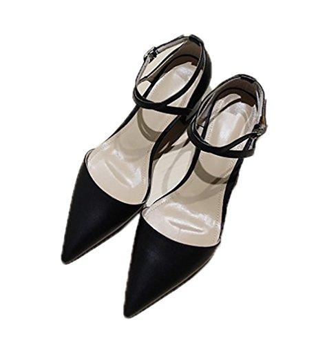 Calaier Vrouwen Catxad 7cm Blok Hiel Gesp Sandaal Schoenen Zwart