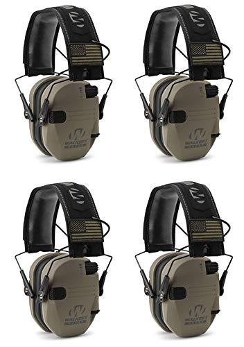 Walkers GWPRSEMPAT Razor Patriot Electronic Earmuff 23 dB Flat Dark Earth/America Patch - 4 Pack by Walker's Game Ear