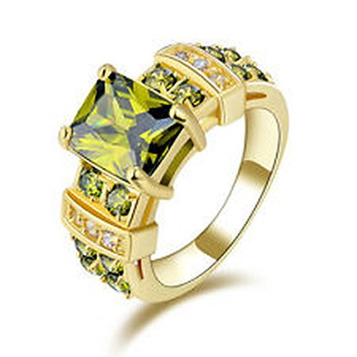 (YD Jewels - Fashion Size 7 Women's Ring GiftOlive Green Peridot 10KT Gold Filled Wedding)