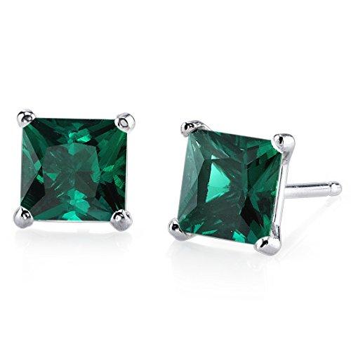 - 14 Karat White Gold Princess Cut 2.00 Carats Created Emerald Stud Earrings