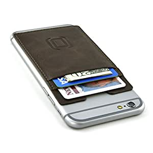 Removable Vintage Synthetic Leather Adhesive Sticky Card Wallet for Smartphones by Dockem; Stick-on Card Case for iPhones, Android phones