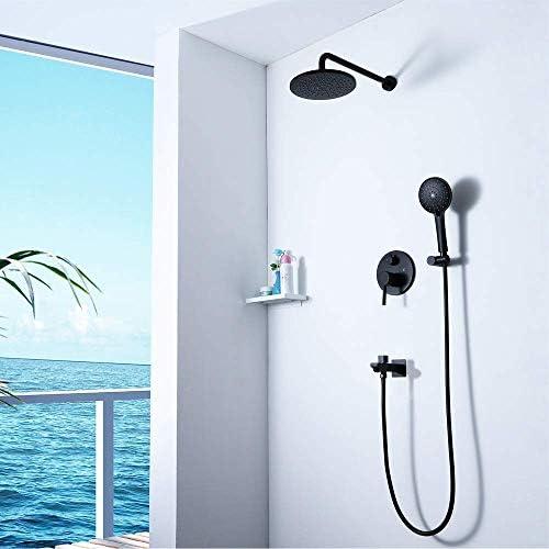 3機能ブラック隠しシャワーセットラウンドステンレス鋼10インチ超薄型トップシャワーシャワー蛇口シャワーシステム