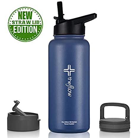 6b7011156b0d theflow Insulated Water Bottle Large 32oz Stainless Steel Hydro Vacuum  Flask with wide mouth Straw Lid, Coffee Flip Lid and Carabiner, Double Wall  ...