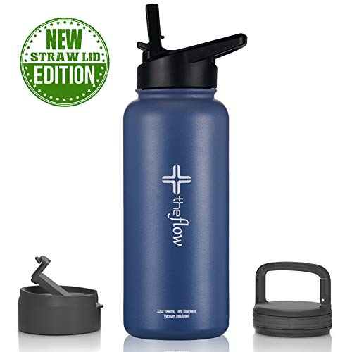 theflow Insulated Water Bottle Large 32oz Stainless Steel Hydro Vacuum Flask with wide mouth Straw Lid, Coffee Flip Lid and Carabiner, Double Wall Sports Travel Metal Modern Tumbler for Coldest Drinks (Best Water Bottle With Straw)